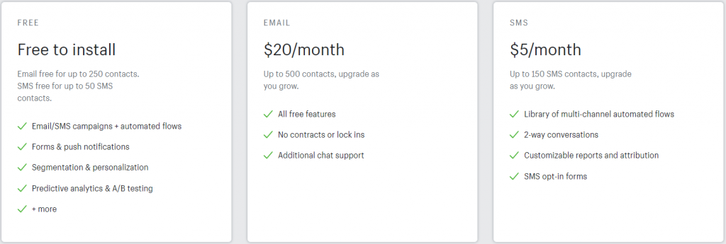 Klavyio Pricing - Email Marketing Apps for Shopify